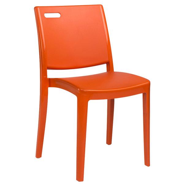 Pack of 4 Grosfillex US563019 / US653019 Metro Orange Indoor / Outdoor Stacking Resin Chair