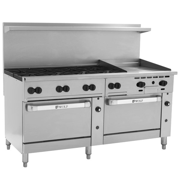 """Wolf C72SC-8B24GN Challenger XL Series Natural Gas 72"""" Manual Range with 8 Burners, 24"""" Right Side Griddle, and One Standard / One Convection Oven - 350,000 BTU"""