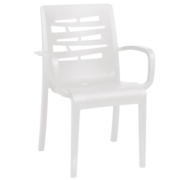 Case of 16 Grosfillex US118004 / US811104 Essenza White Stacking Arm Chair