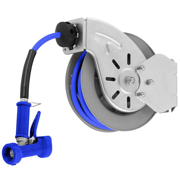 "T&S B-7143-04 Stainless Steel Open Hose Reel with 1/2"" x 50' Hose and Rear Trigger Water Gun - 9/16"" Flow Orifice"