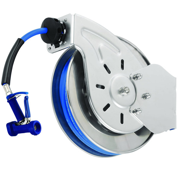"""T&S B-7133-06 Stainless Steel Open Hose Reel with 1/2"""" x 35' Hose and Front Trigger Water Gun - 7/16"""" Flow Orifice"""