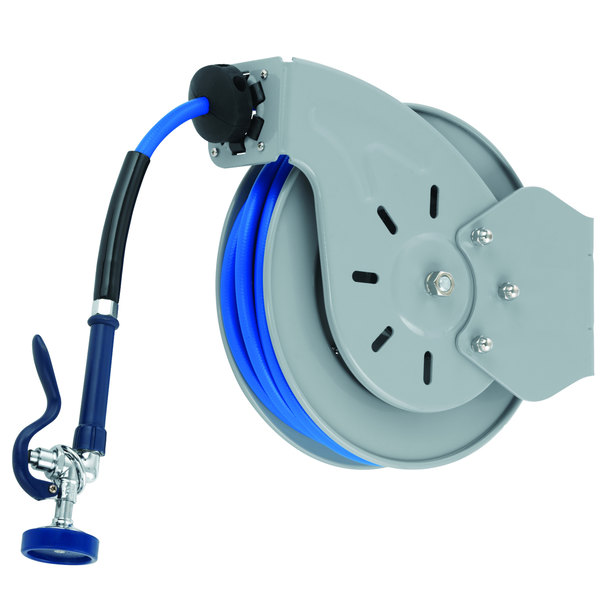 """T&S B-7133-01 Stainless Steel Open Hose Reel with 1/2"""" x 35' Hose and High Flow Spray Valve"""