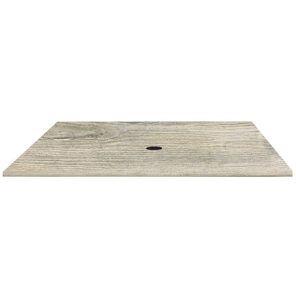 """Grosfillex UT275782 32"""" x 48"""" White Oak Outdoor Molded Melamine Table Top with Umbrella Hole Main Image 1"""
