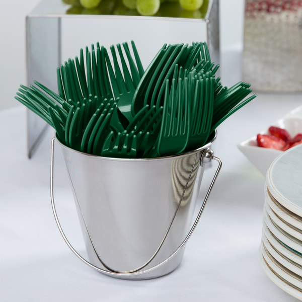 "Creative Converting 019124 7 1/8"" Hunter Green Disposable Plastic Fork - 24/Pack"