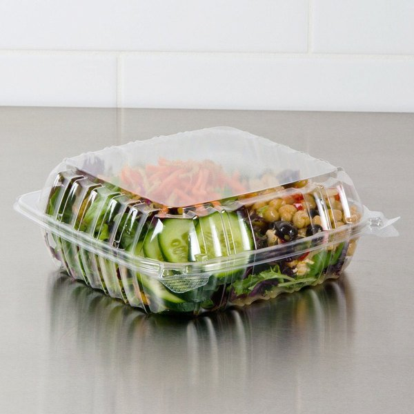"""Dart C95PST1 9"""" x 9 1/2"""" x 3"""" ClearSeal Clear Hinged Lid Plastic Container - 100/Pack"""