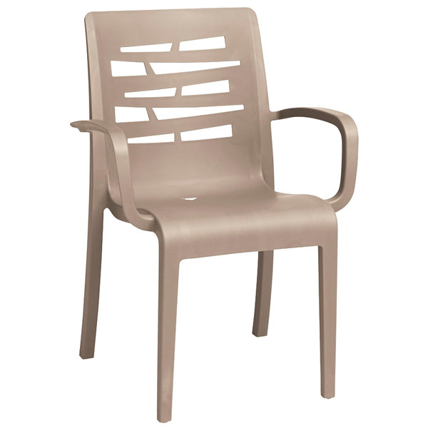Case of 16 Grosfillex US118181 / US811181 Essenza Taupe Stacking Arm Chair