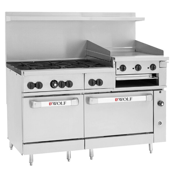 """Wolf C60SC-6B24GBP Challenger XL Series Liquid Propane 60"""" Manual Range with 6 Burners, 24"""" Griddle/Broiler, 1 Standard, and 1 Convection Oven - 268,000 BTU Main Image 1"""