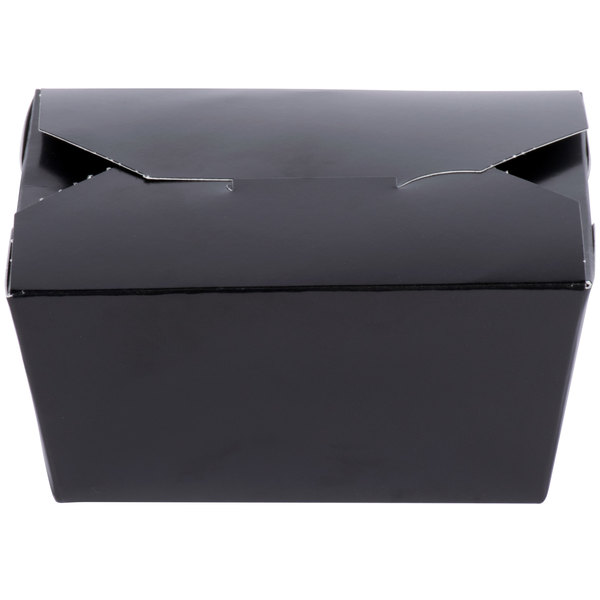 Southern Champion 0781 ChampPak Retro 4 3/8 inch x 3 1/2 inch x 2 1/2 inch Black Microwavable Paper #1 Take-Out Container - 50/Pack