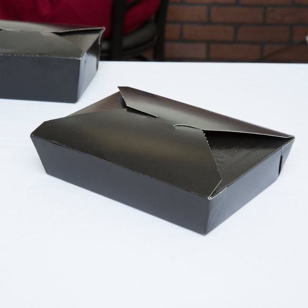 """Southern Champion 0788 ChampPak Retro 6"""" x 4 3/4"""" x 2 1/2"""" Black Microwavable Paper #8 Take-Out Container - 50/Pack"""