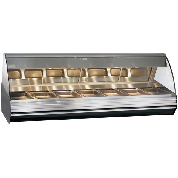 "Alto-Shaam HN296 S/S Stainless Steel Countertop Heated Display Case with Curved Glass - Full Service 96"" Main Image 1"