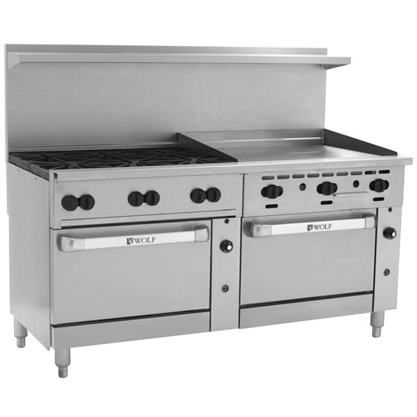 """Wolf C72SS-6B36GTN Challenger XL Series Natural Gas 72"""" Thermostatic Range with 6 Burners, 36"""" Right Side Griddle, and 2 Standard Ovens - 310,000 BTU"""