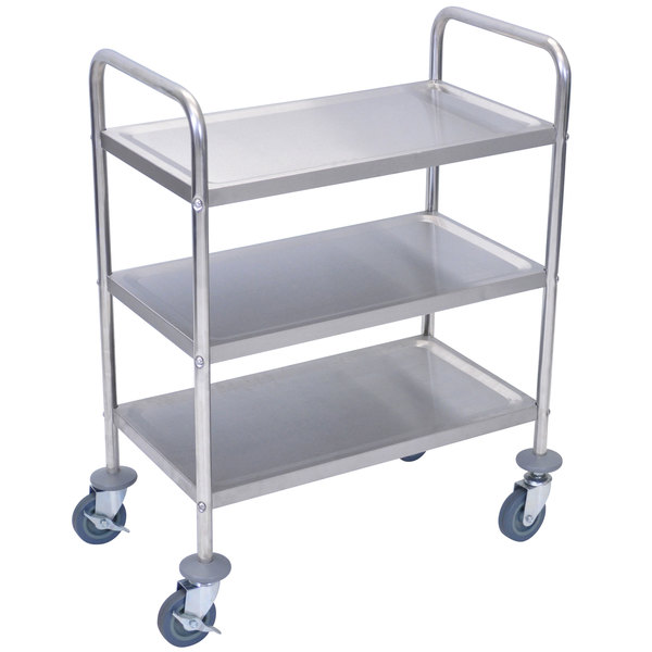 "Luxor L100S3 Stainless Steel 3 Shelf Utility Cart - 16"" x 26"" x 35"" Main Image 1"