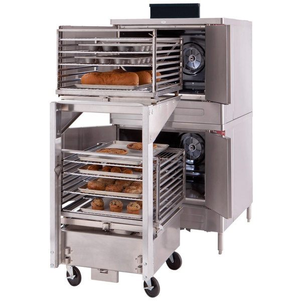 Blodgett ZEPHAIRE-100-E-208/1 Double Deck Full Size Standard Depth Roll-In Electric Convection Oven - 208V, 1 Phase, 22 kW
