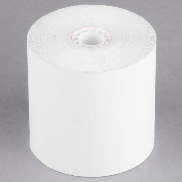 """Point Plus 3 1/4"""" x 243' Traditional Cash Register POS Paper Roll Tape - 48/Case Main Image 1"""