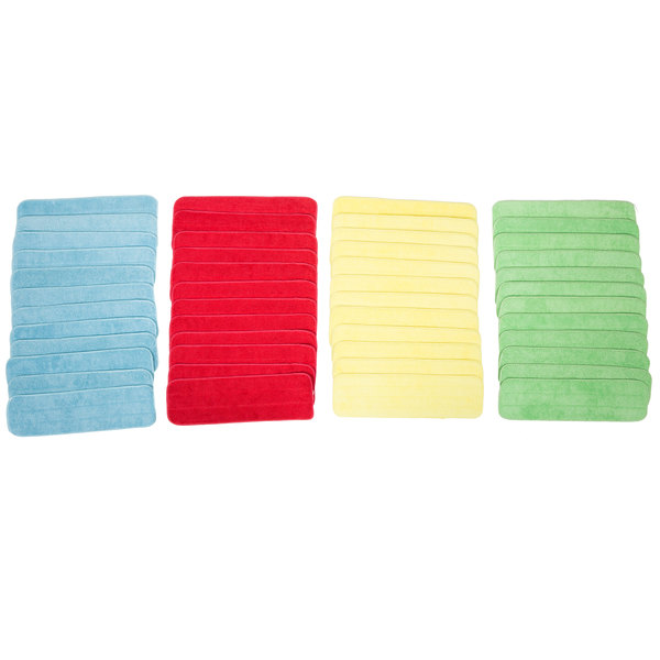 "18"" Color-Coded Microfiber Wet Mop Pad Kit with 48 Pads"
