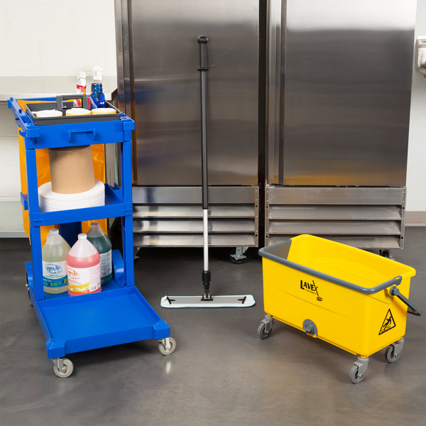 "Janitor Cart and 18"" Microfiber Wet Mop Kit"