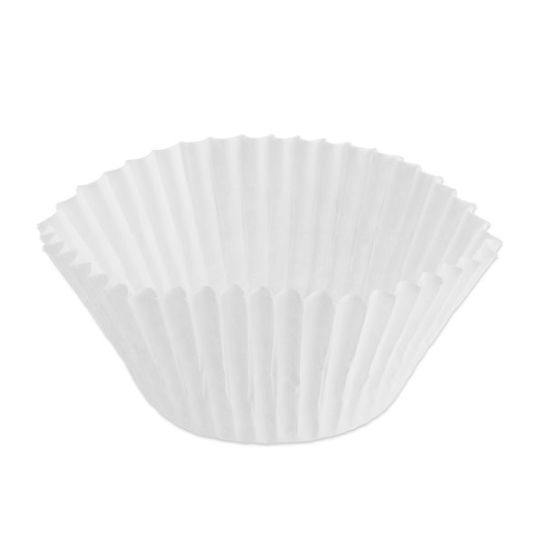 """Hoffmaster 610040 2"""" x 1 3/8"""" White Fluted Baking Cup - 10000/Case"""