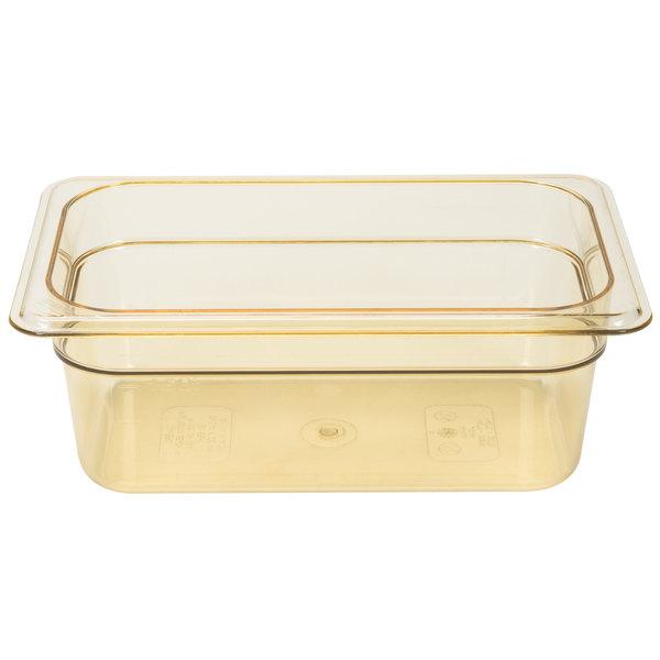"""Cambro 44HP150 H-Pan 1/4 Size Amber High Heat Food Pan - 4"""" Deep"""