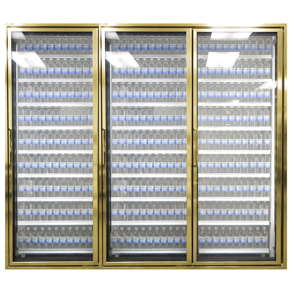 """Styleline CL3072-NT Classic Plus 30"""" x 72"""" Walk-In Cooler Merchandiser Doors with Shelving - Anodized Bright Gold, Right Hinge - 3/Set"""