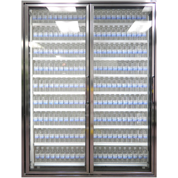"""Styleline CL3072-NT Classic Plus 30"""" x 72"""" Walk-In Cooler Merchandiser Doors with Shelving - Anodized Bright Silver, Left Hinge - 2/Set"""