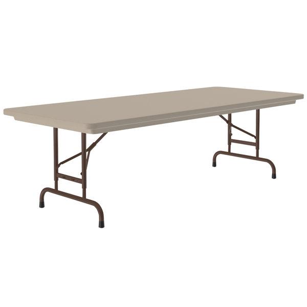 "Correll Heavy Duty Folding Table, 30"" x 96"" Adjustable Height Blow-Molded Plastic, Mocha Granite - R-Series RA309624 Main Image 1"