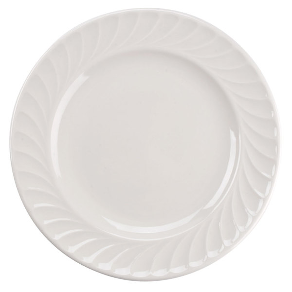 "Tuxton MEA-104 Meridian 10 1/2"" Ivory (American White) Swirl Rim China Plate - 12/Case"