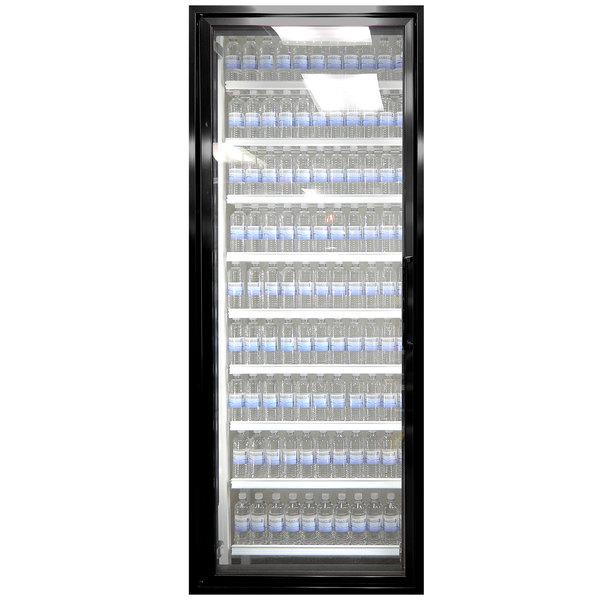 """Styleline CL3072-NT Classic Plus 30"""" x 72"""" Walk-In Cooler Merchandiser Door with Shelving - Satin Black, Left Hinge"""
