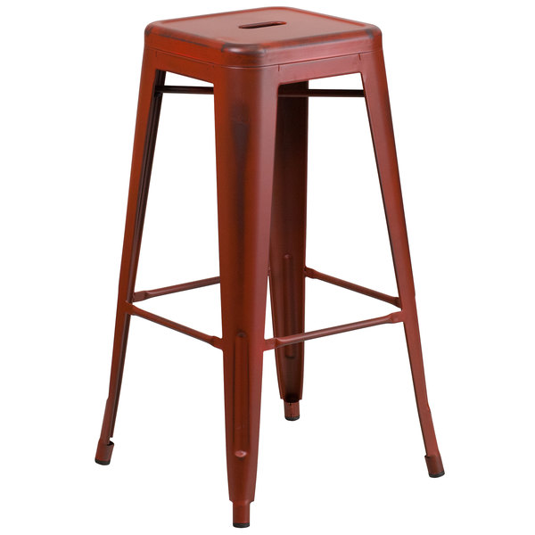 Flash Furniture ET-BT3503-30-RD-GG Distressed Kelly Red Stackable Metal Bar Height Stool with Drain Hole Seat
