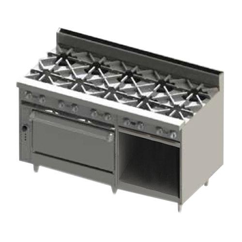 """Blodgett BR-10-36-NAT Natural Gas 10 Burner 60"""" Range with 1 Standard Oven and 1 Cabinet Base - 330,000 BTU Main Image 1"""