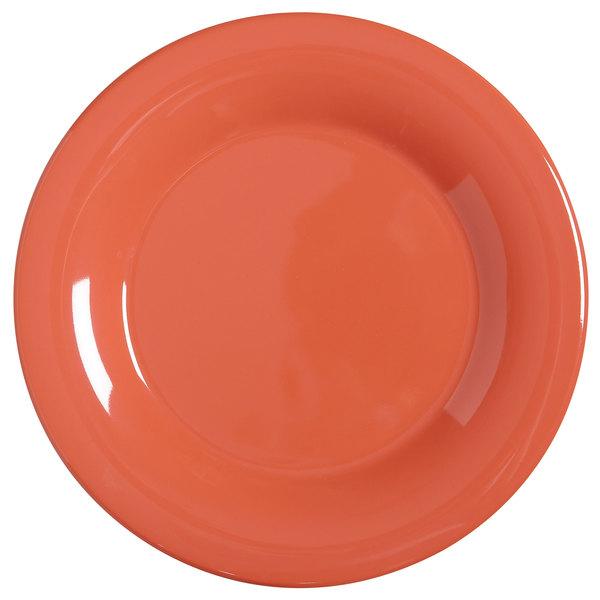 "GET WP-9-RO Diamond Mardi Gras 9"" Rio Orange Wide Rim Round Melamine Plate - 24/Case"