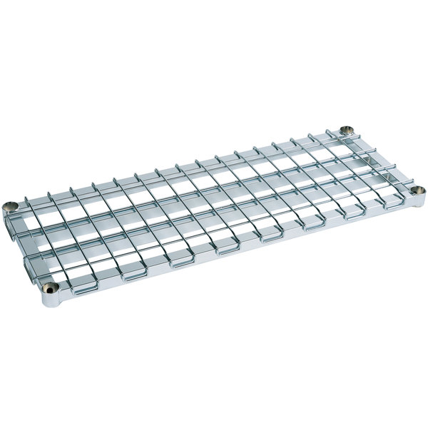 "Metro 2430DRC 30"" x 24"" Chrome Heavy Duty Dunnage Shelf with Wire Mat - 1600 lb. Capacity"