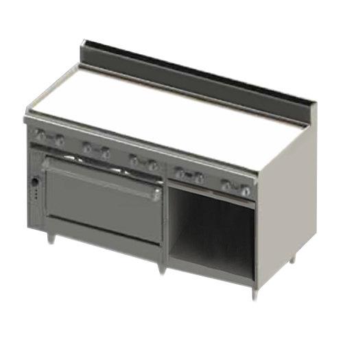 "Blodgett BR-60G-36-NAT Natural Gas 60"" Manual Range with Griddle Top, 1 Standard Oven, and 1 Cabinet Base - 150,000 BTU Main Image 1"