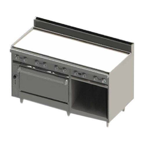 "Blodgett BR-60G-36-LP Liquid Propane 60"" Manual Range with Griddle Top, 1 Standard Oven, and 1 Cabinet Base - 150,000 BTU Main Image 1"