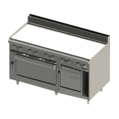 """Blodgett BR-60G-2436C-NAT Natural Gas 60"""" Manual Range with Griddle Top, 1 Convection Oven, and 1 Standard Oven Base - 180,000 BTU"""