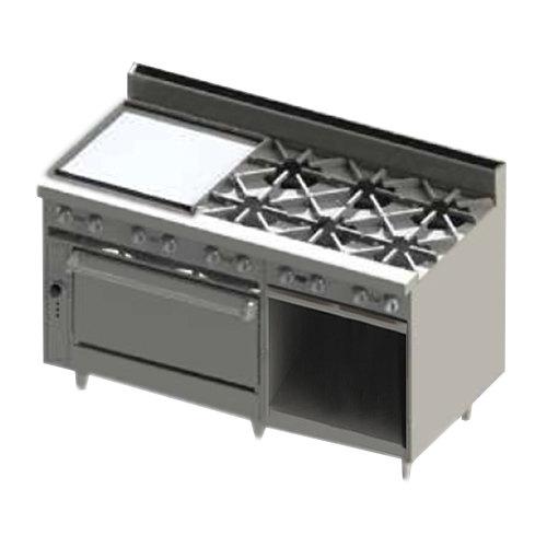 """Blodgett BR-24GT-6-36-NAT Natural Gas 6 Burner 60"""" Thermostatic Range with 24"""" Left Side Griddle, 1 Standard Oven, and 1 Cabinet Base - 258,000 BTU Main Image 1"""