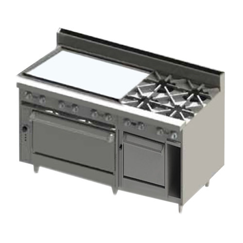 "Blodgett BR-36G-4-2436C-NAT Natural Gas 4 Burner 60"" Manual Range with 36"" Left Side Griddle, 1 Convection Oven, and 1 Standard Oven - 252,000 BTU Main Image 1"