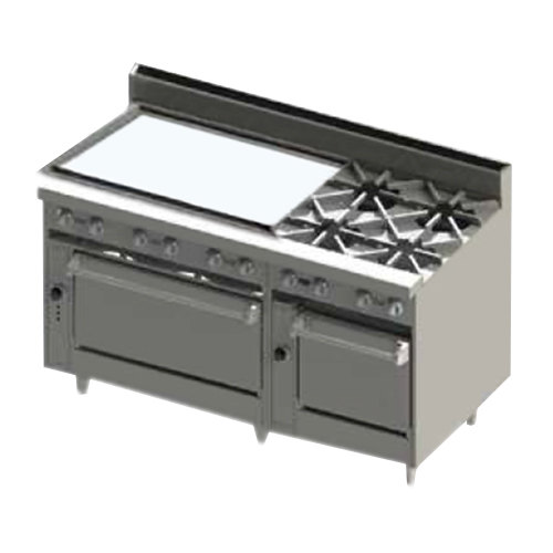 "Blodgett BR-36GT-4-2436-LP Liquid Propane 4 Burner 60"" Thermostatic Range with 36"" Left Side Griddle and Double Oven Base - 252,000 BTU"