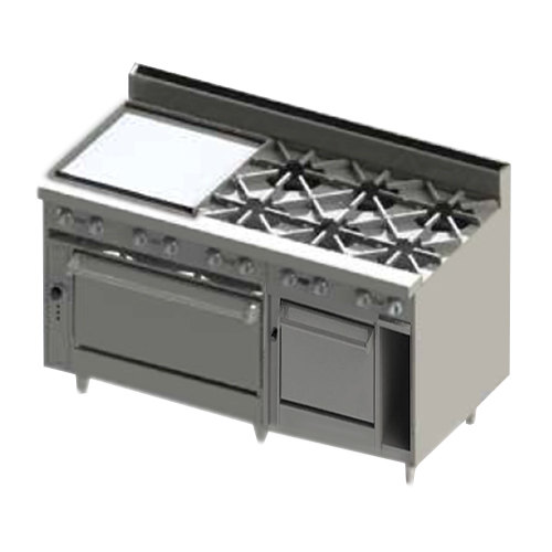 "Blodgett BR-24GT-6-2436C-NAT Natural Gas 6 Burner 60"" Thermostatic Range with 24"" Left Side Griddle, 1 Convection Oven, and 1 Standard Oven - 288,000 BTU Main Image 1"