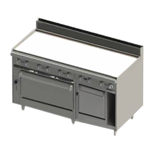"""Blodgett BR-60GT-2436C-LP Liquid Propane 60"""" Thermostatic Range with Griddle Top, 1 Convection Oven, and 1 Standard Oven Base - 180,000 BTU"""