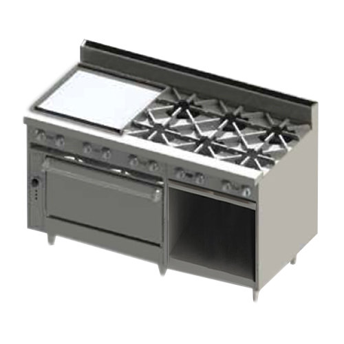"Blodgett BR-24G-6-36-LP Liquid Propane 6 Burner 60"" Manual Range with 24"" Left Side Griddle, 1 Standard Oven, and 1 Cabinet Base - 258,000 BTU"