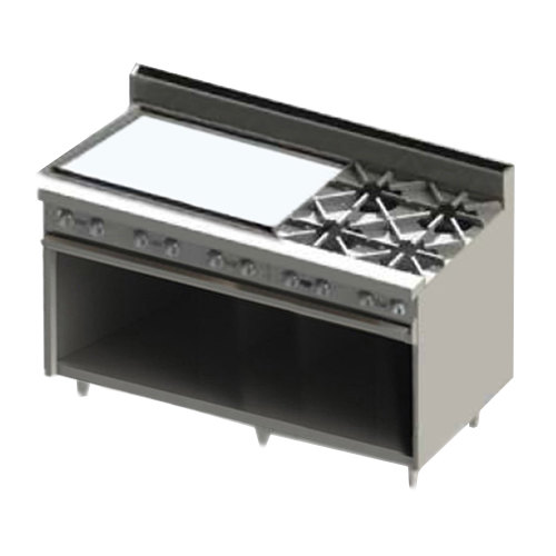 "Blodgett BR-36G-4-LP Liquid Propane 4 Burner 60"" Manual Range with 36"" Left Side Griddle and Cabinet Base - 192,000 BTU"