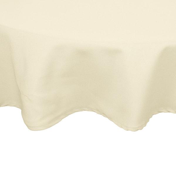 "54"" Round Ivory Hemmed Polyspun Cloth Table Cover"