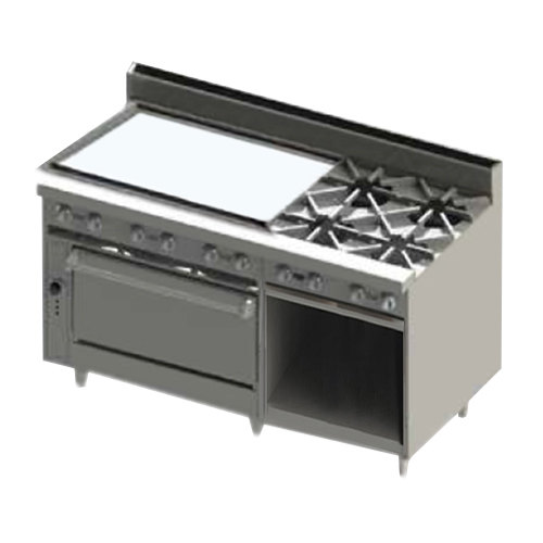 "Blodgett BR-36GT-4-36-NAT Natural Gas 4 Burner 60"" Thermostatic Range with 36"" Left Side Griddle, 1 Standard Oven, and 1 Cabinet Base - 222,000 BTU"