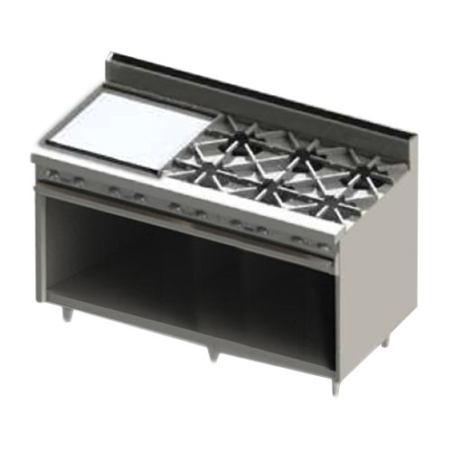 "Blodgett BR-24GT-6-NAT Natural Gas 6 Burner 60"" Thermostatic Range with 24"" Left Side Griddle and Cabinet Base - 228,000 BTU Main Image 1"