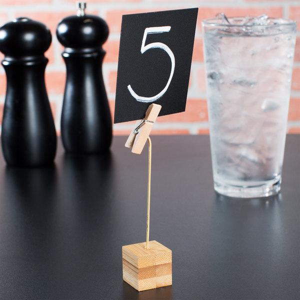 "Tablecraft 5CHBAMCP 5"" Clothespin Clip Square Bamboo Card Holder"