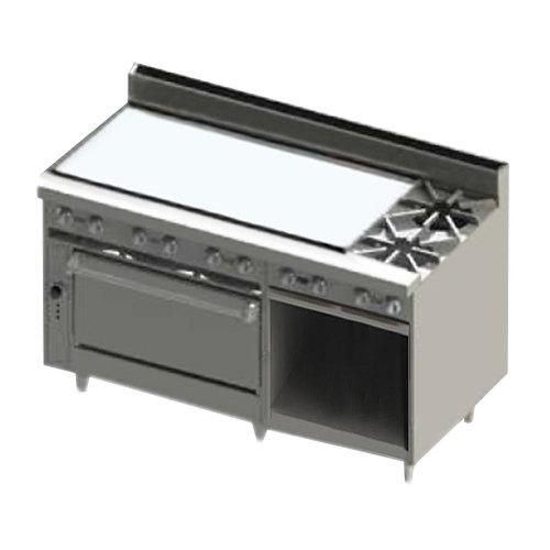 """Blodgett BR-48GT-2-36-NAT Natural Gas 2 Burner 60"""" Thermostatic Range with 48"""" Left Side Griddle, 1 Standard Oven, and 1 Cabinet Base - 186,000 BTU Main Image 1"""