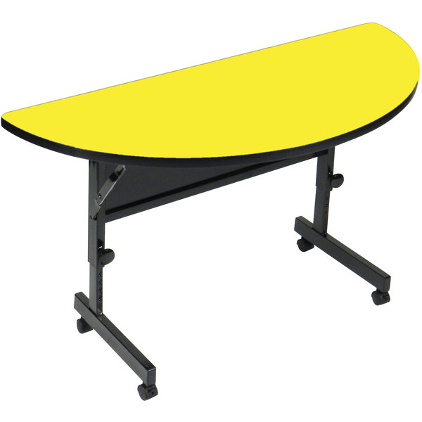 """Correll Deluxe Half Round Flip Top Table, 24"""" x 48"""" High Pressure Adjustable Height, Yellow - FT2448HR-38"""