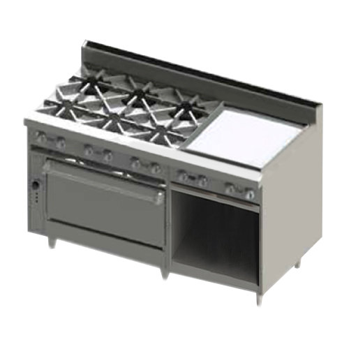"Blodgett BR-6-24G-36-NAT Natural Gas 6 Burner 60"" Manual Range with 24"" Right Side Griddle, 1 Standard Oven, and 1 Cabinet Base - 258,000 BTU"