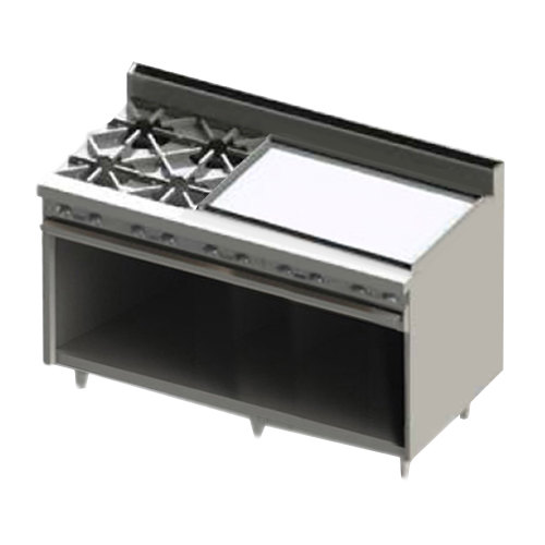 "Blodgett BR-4-36GT-LP Liquid Propane 4 Burner 60"" Thermostatic Range with 36"" Right Side Griddle and Cabinet Base - 192,000 BTU"