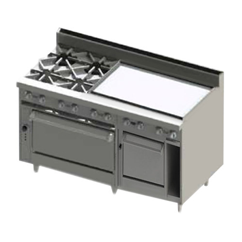 "Blodgett BR-4-36GT-2436C-NAT Natural Gas 4 Burner 60"" Thermostatic Range with 36"" Right Side Griddle, 1 Convection Oven, and 1 Standard Oven - 252,000 BTU Main Image 1"